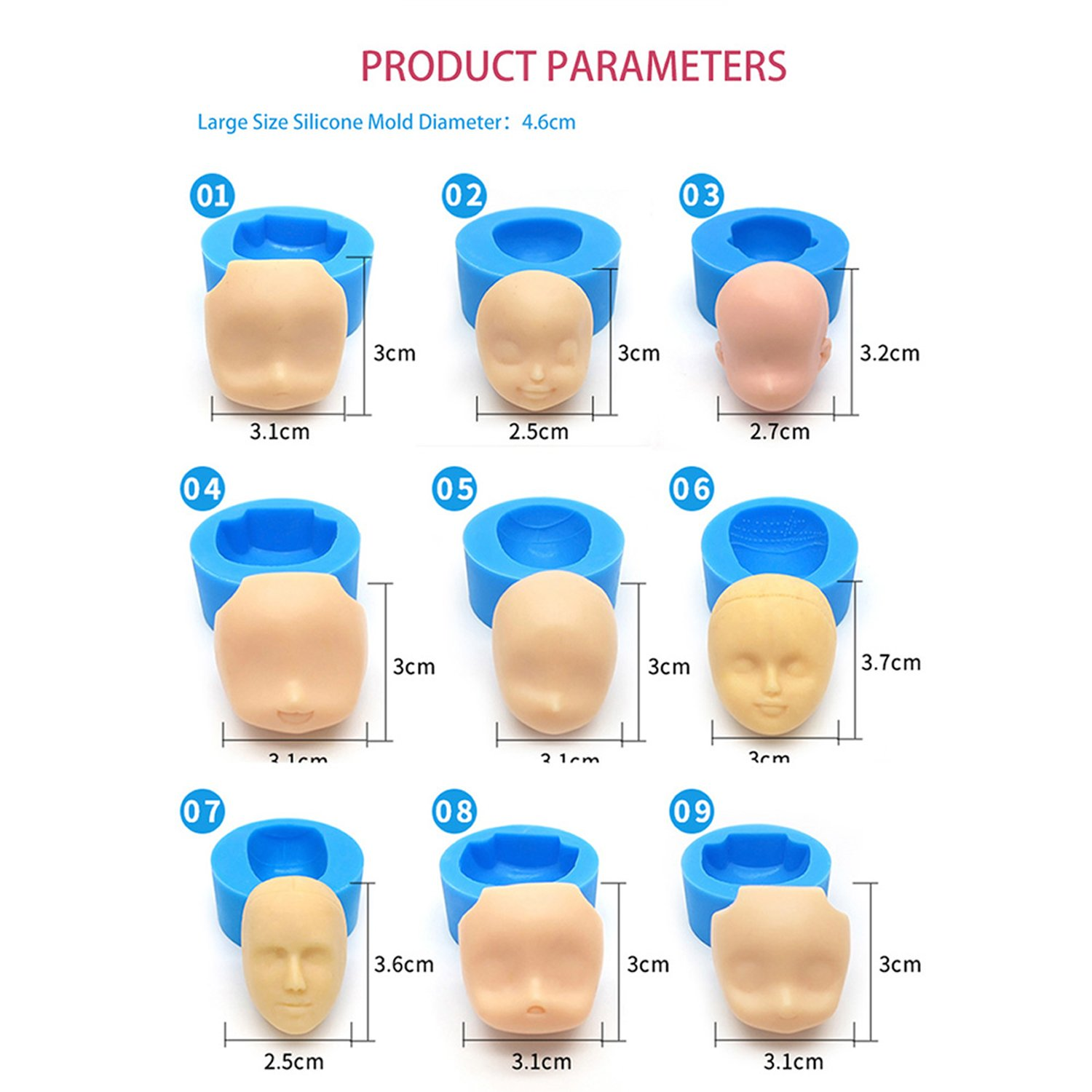 mofa 9 PCS of Set Human Face Shaped 3D Silicone Cake Fondant Mold, Cake Decoration Tools, Soap, Candle Moulds,Fondant, Polymer Clay, Soap Making, Crafting Projects (Large Size) by mofa (Image #2)
