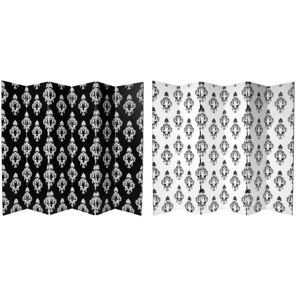 Oriental Möbel Classic French Wall Paper, druckknopfstiel schwarz und weiß Damast Stil Boden Bildschirm Raumteiler, 6Platten