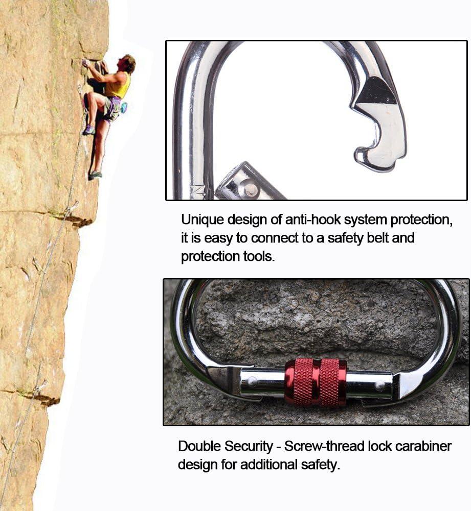 25 KN en Aluminium Robuste pour Escalade randonn/ée Jaune Alpinisme Fsskgx Mousqueton de Verrouillage