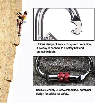 Yougeyu Mosquetón de escalada (25 KN=500 libras) en forma de O, de acero de gran resistencia, con cierre de rosca, para escalada, senderismo, yoga, ...