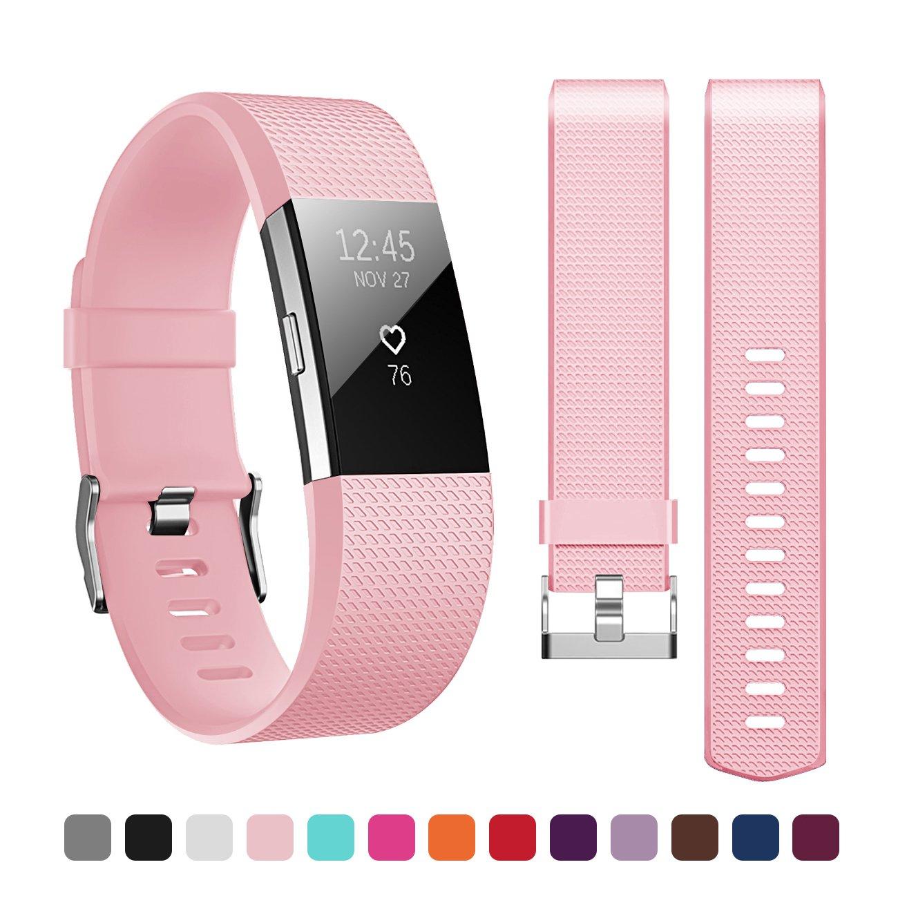 Fitbit Charge 2バンド、maifengソフトTPUシリコン調節可能な交換スポーツストラップバンドfor Fitbit Charge 2 Large(5.6-8.1 in) ピンク B076X62GKJ