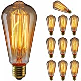 エジソン電球60W KINGSO 10個入E26 110V ST64-19アンカー ヴィンテージガラスライト ホーム照明装飾用器具