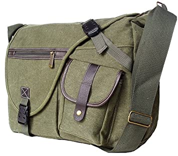 Amazon.com: Military Inspired Canvas Crossbody Messenger Bag ...