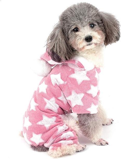 ZUNEA Pijama para Perro Pequeño Abrigo con Capucha Forro Polar Cachorros Niñas Niños Rope de Invierno Cálido Pijamas de Algodón Suave Ropa General ...