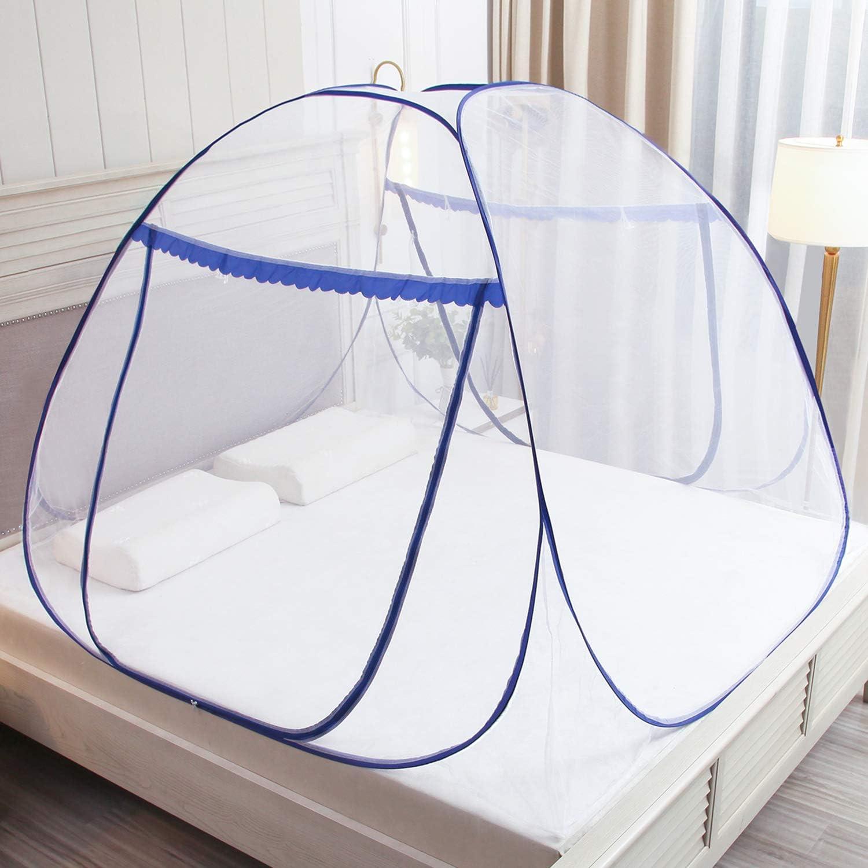 Mosquiteras plegables para camas dobles,W150 * L200 * H 145 cm, cremalleras de doble puerta mosquiteras portátiles para carpas instalación rápida y fácil sin ganchos