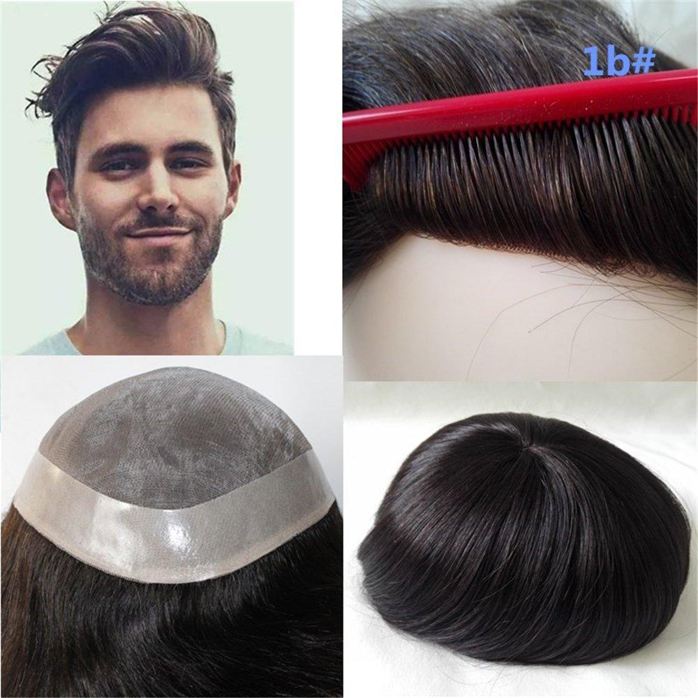 Galleon - Lumeng Wigs For Men Hairpiece Mono Lace Systems Mens Toupee Size  8x10 Inch Color 1B Wigs Super Durable Lace Men Units 8e5ca34b349e