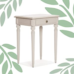 Adore Decor Rowan Bedside Table with Drawer Small Side End Accent Nightstand for Bedroom or Living Room Sofa Fully Assembled, CreamyWhite