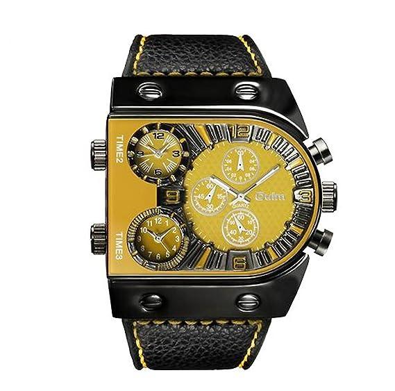 Hombre Relojes militares, Reloj de cuarzo Correa de cuero Zona de multi-tiempo Reloj