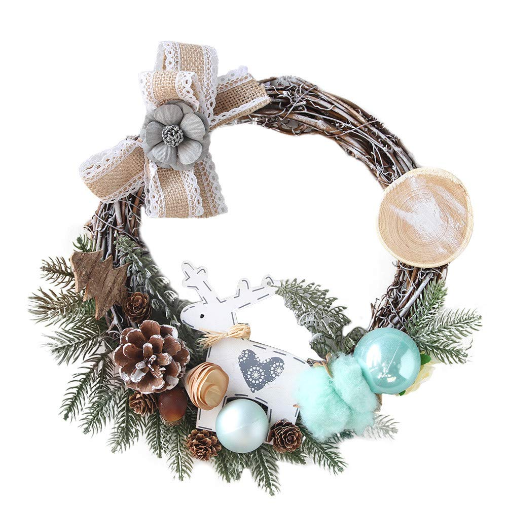 iumei Christmas Wreath Garland Chestnut Pine Cone Cotton Merry Christmas Party Pine Wreath Door Wall Ornament Garland Decoration (B)