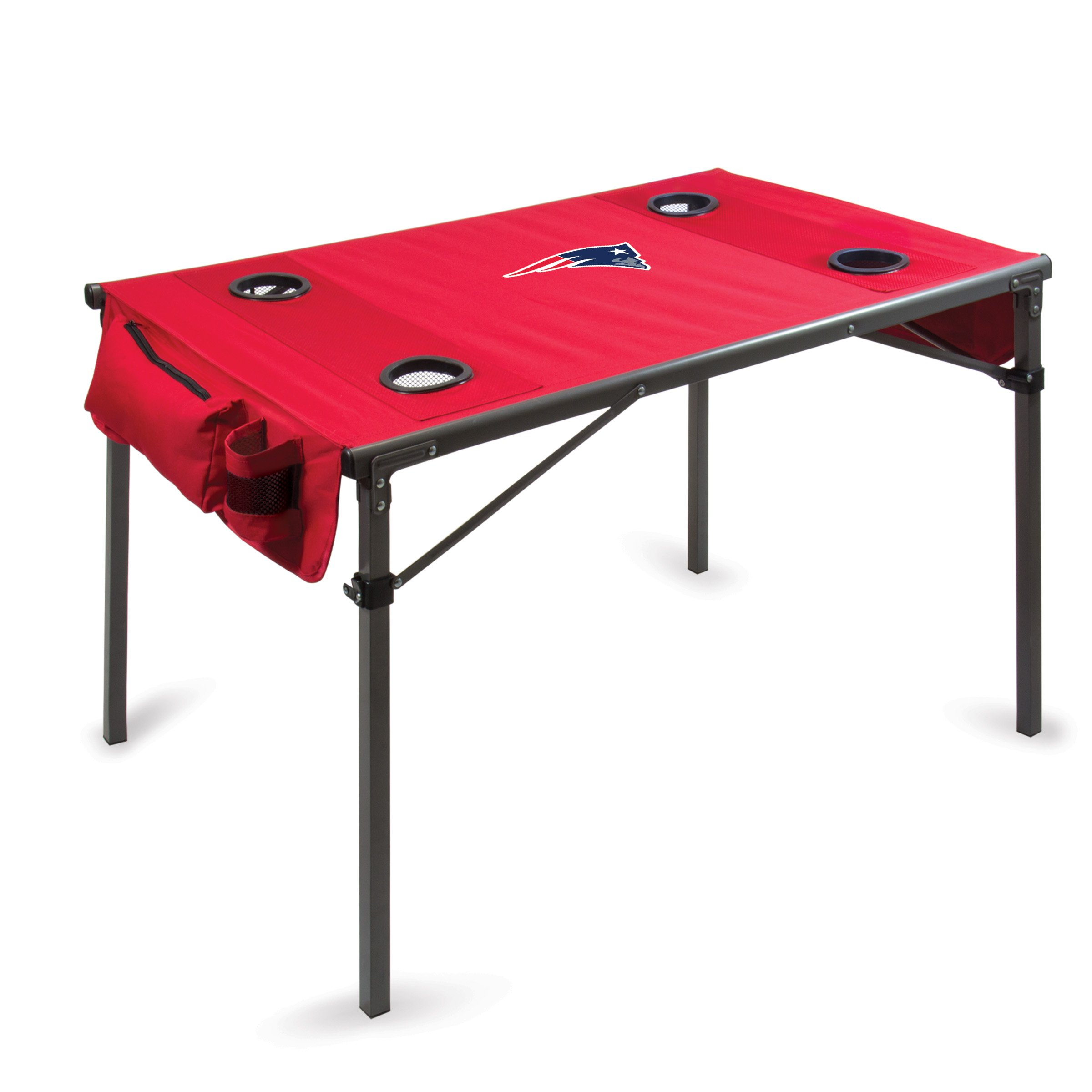PICNIC TIME NFL New England Patriots Portable Soft Top Travel Table, Red