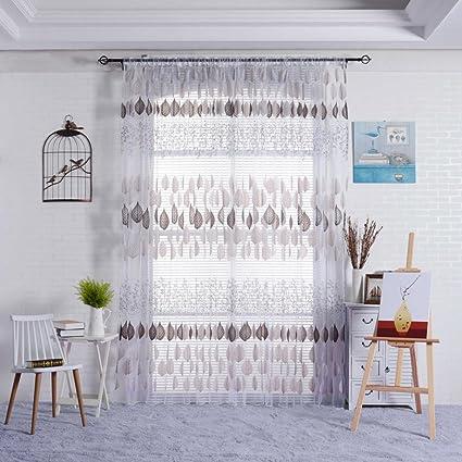 Rideaux Salon Design Moderne Kolylong Solide Couleur Rideaux Voilages  Discount 200*100 (Noir)
