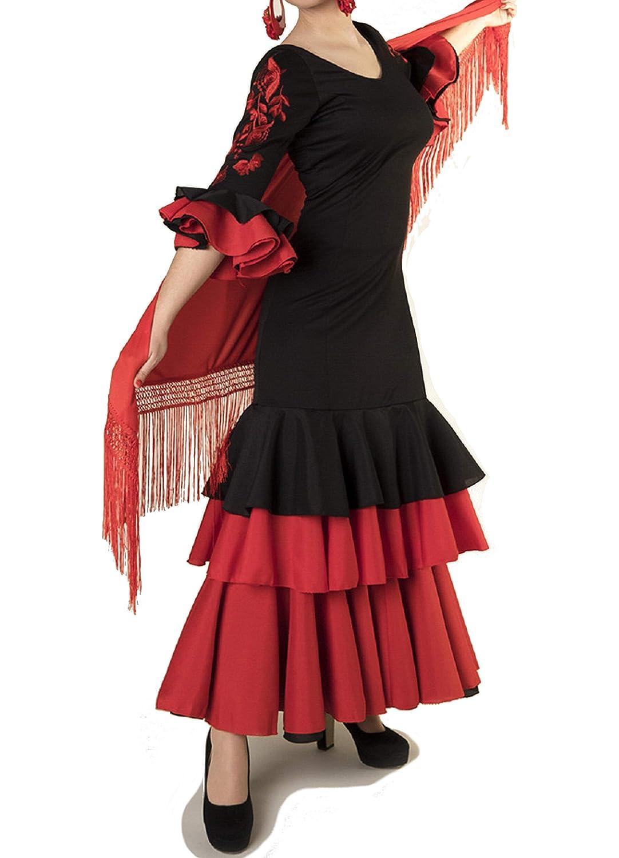 ANUKA Traje de Baile Flamenco para Mujer con Flores en Las Mangas ...