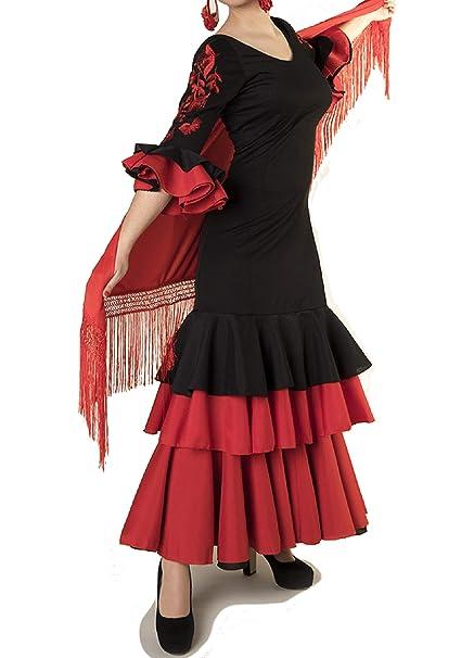 ANUKA Traje de Baile Flamenco para Mujer con Flores en Las ...