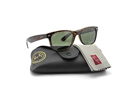 Amazon.com: Ray-Ban RB2132 902/58 Wayfarer Tortoise Frame / Green ...