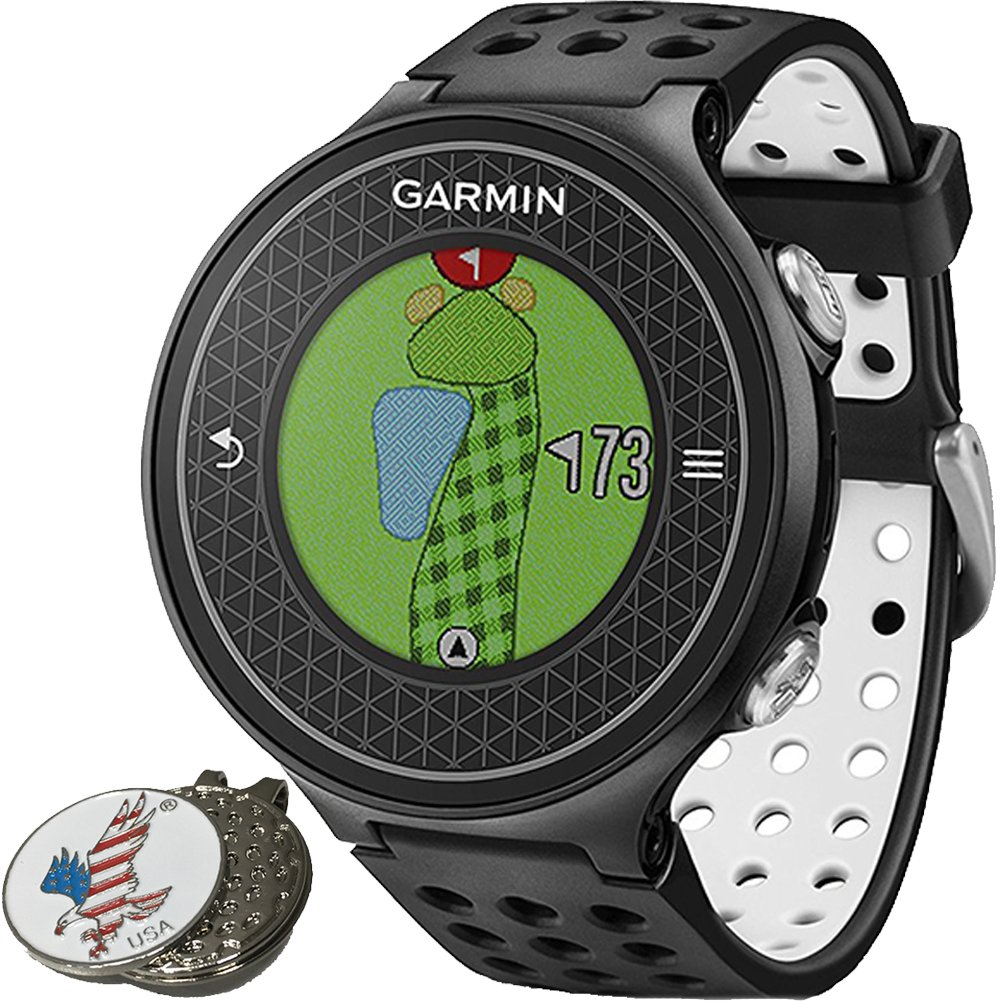 Garmin Approach S6 Golf GPS Sports Watch, Black, Comes with a Custom Ball Marker Hat Clip Set (American Eagle) by Garmin