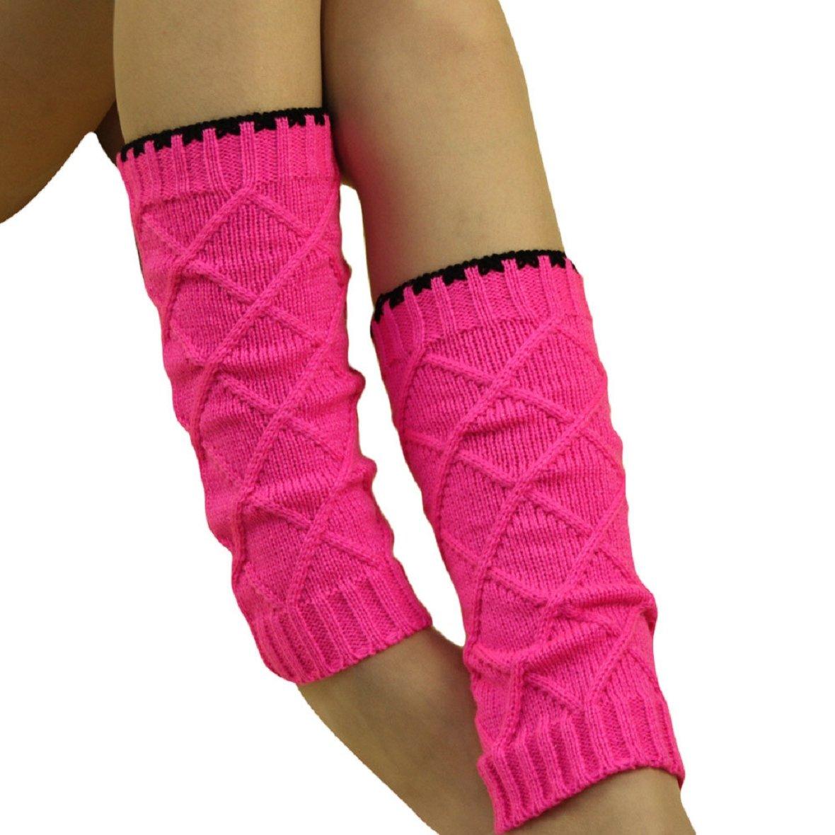 Tonsee Children Kid Boot Cuffs Knit Leg Warmer (Hot pink)