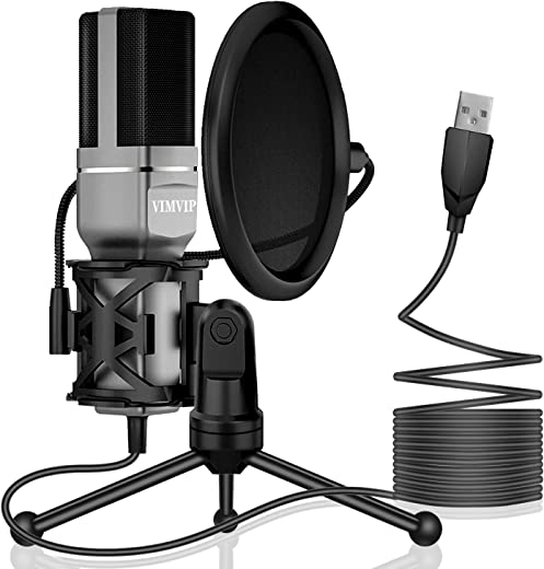 USB Microphone, VIMVIP Microphone for Computer USB Mic for PC Desktop Laptop Condenser Microphone to Recording Podcast Gaming Streaming YouTube