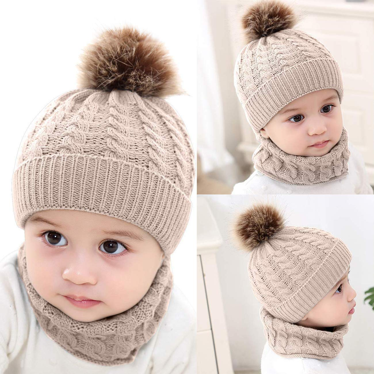 df8c6e71dbe81d DRESHOW BQUBO 2 Pack Baby Winter Knit Hat Toddler Crochet Hat with Necklace  Children抯 Pom Winter Hat Beanie: Amazon.ca: Clothing & Accessories