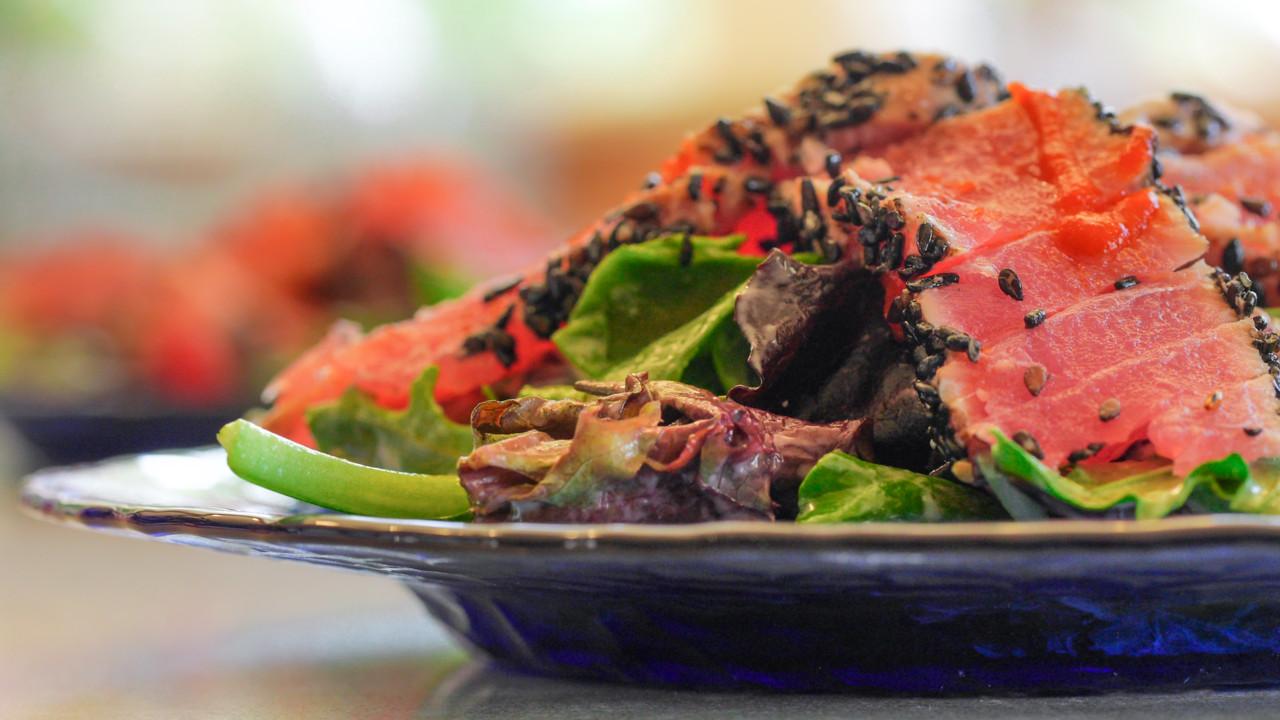 Seared Ahi Salad with Blue Cheese & Sesame