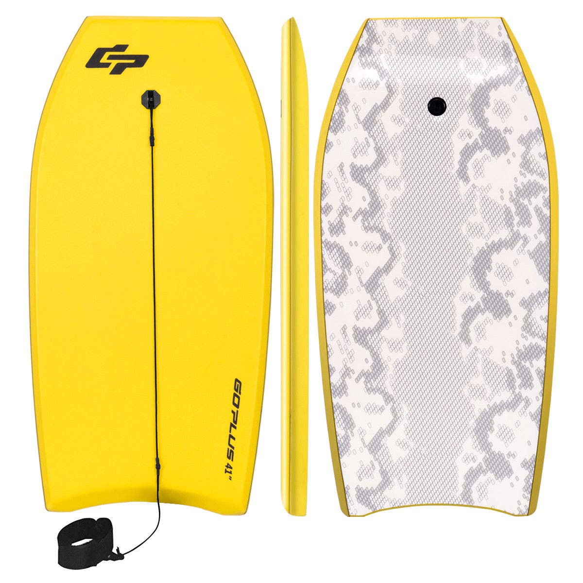 Goplus 41 inch Super Bodyboard Body Board EPS Core, IXPE Deck, HDPE Slick Bottom with Leash, Light Weight Perfect Surfing for Kids and Adults (Yellow) by Goplus