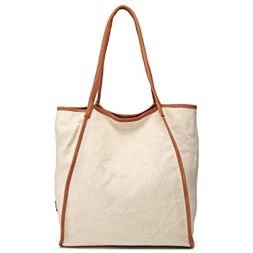 77bdc2c0b085 Amazon.com: Work Tote Bag for Women Extra Large Capacity Shopper Shouler  Travel Bag Genuine Leather & Canvas Handbag Beige White: MONHINTY Direct
