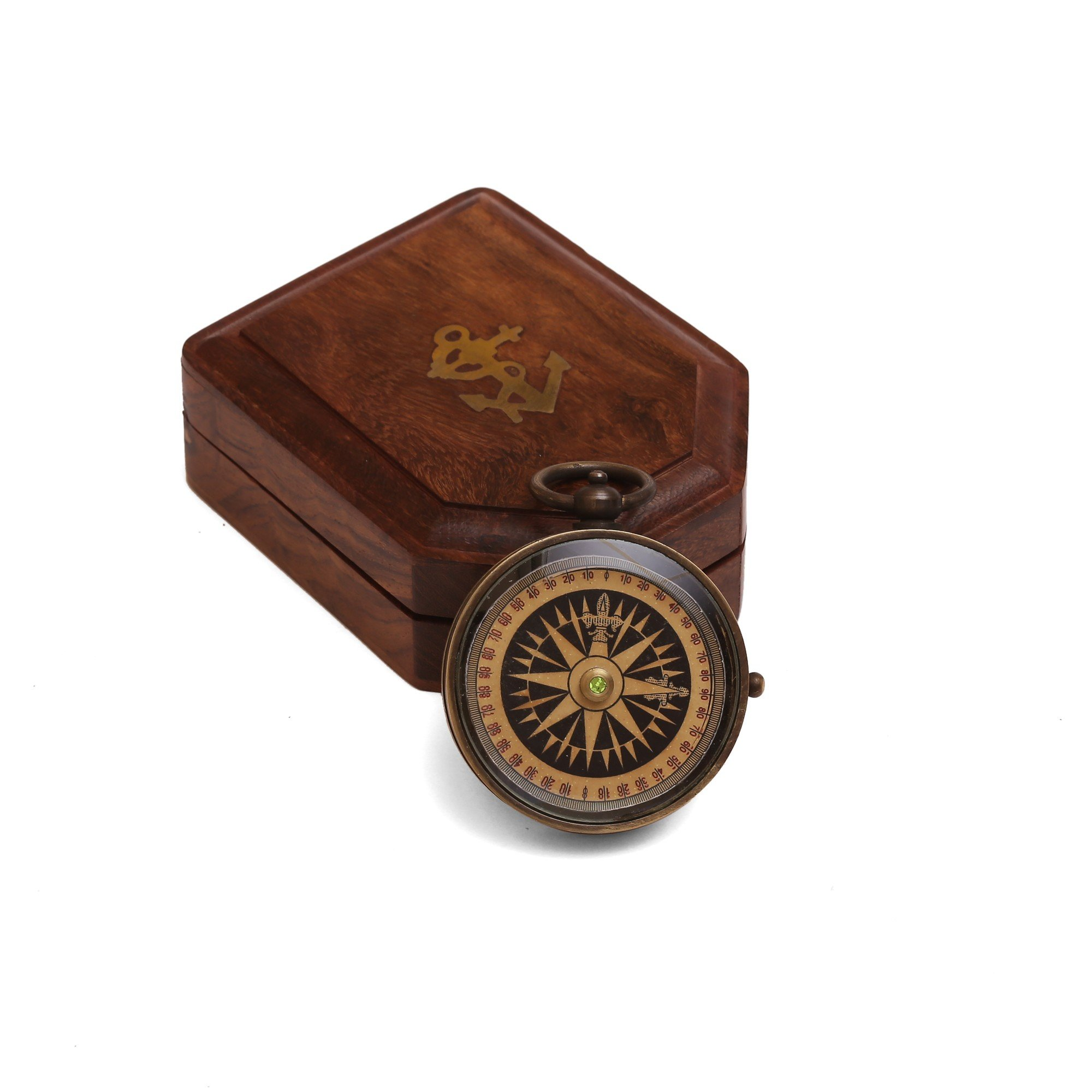 ShalinIndia Antique Floating Dial Pocket Watch - 2.2'' - Brass Compass - Travel Accessories