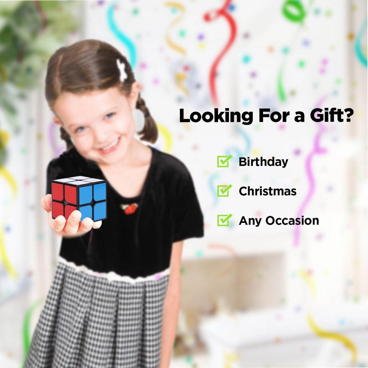 Roxenda Qiyi Qidi W 2x2 Speed Cube Classic Sticker 2 by 2 Magic Cube Smooth Puzzle Cube Black