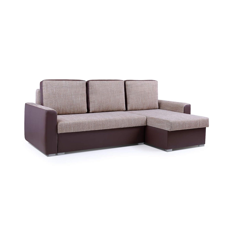 MOEBLO Ecksofa mit Schlaffunktion Eckcouch mit Bettkasten Sofa Couch L-Form Polsterecke Silva (Braun, Ecksofa Rechts)