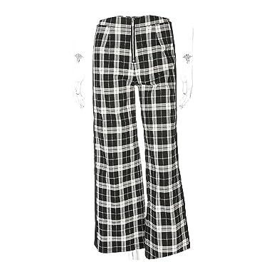 91dfe9fea Women Checkered Pants Plaid Side Stripe Ribbon Checkerboard Trousers Pants  Loose High Waist Straight,Black