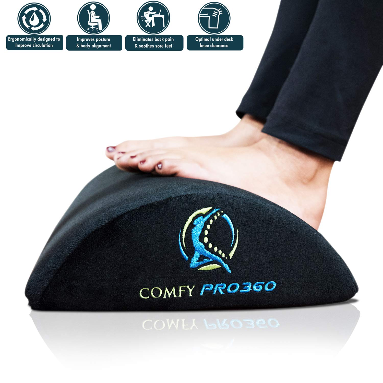Comfy PRO360 – Foot Rest for Office or Home, Ergonomic Foam Cushion – Multiple Use for Foot, Back or Leg Rest – Non Slip Washable Upper Cover – Helps Reduce Leg or Knee Pain Stress.