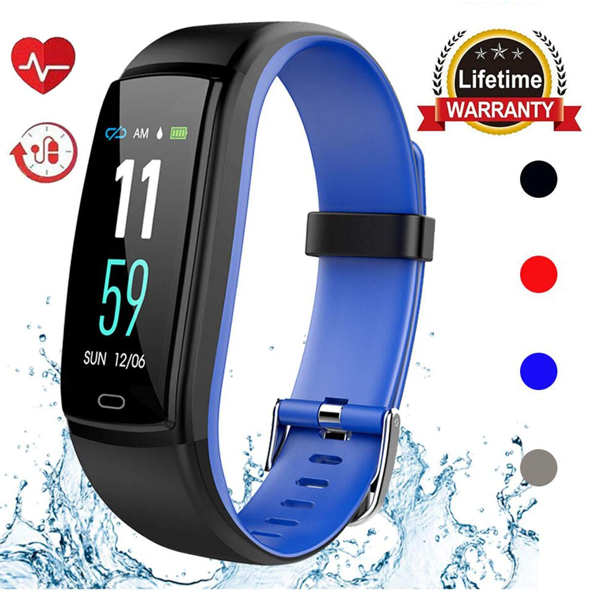 Mgaolo Fitness Tracker HR, Activity Tracker Waterproof Smart Watch Wristband with Heart Rate Blood Pressure Pedomete for Android and iPhone (Blue) by Mgaolo (Image #1)