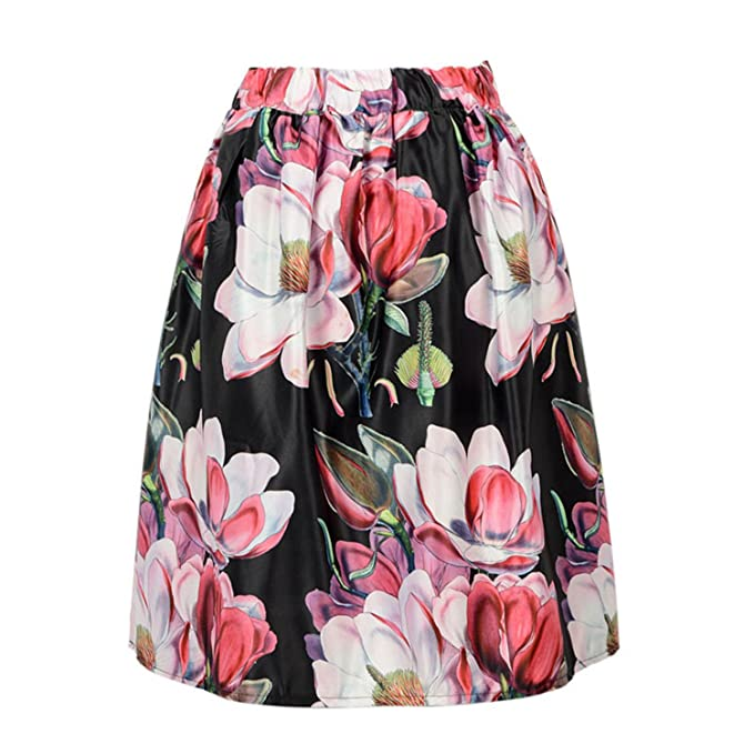 4a6047270f Image Unavailable. Image not available for. Color  Willie Marlow Floral  Print Vintage Pleated Skater Midi Skirt Fashion High Waist Ball Gown Women  Skirt