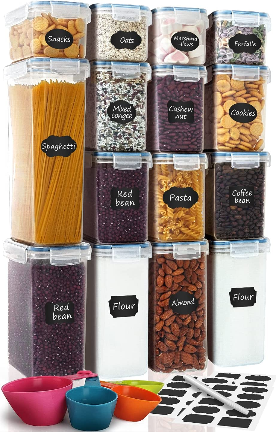 Airtight Food Storage Containers 15-Piece Set, Kitchen & Pantry Organization, BPA Free Plastic Containers with Lids, for Cereal, Flour, Sugar, Baking Supplies, Labels, Marker & Measuring Cups, Blue