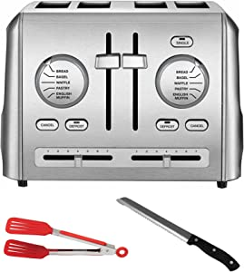 Cuisinart CPT-640 Stainless Steel Custom Select 4-Slice Toaster with Bread Knife and Nylon Flipper Tongs Bundle (3 Items)