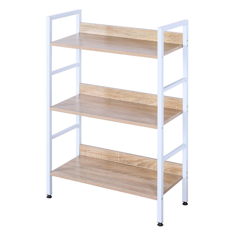 EUGAD Heavy Duty Bookcase 3 Tiers Bookshelves Storage Rack Books White