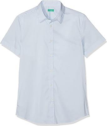 United Colors of Benetton Shirt Camisa Casual, Azul (Celeste 081), Medium (Talla del Fabricante: Large) para Hombre: Amazon.es: Ropa y accesorios
