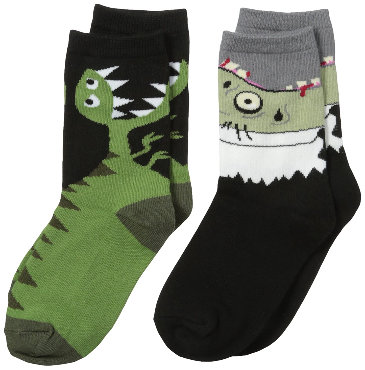 K.Bell Black Label Big Boys' 2 Pack Dino and Zombie Socks, Assort, 6-8.5 K. Bell Boys 2-7