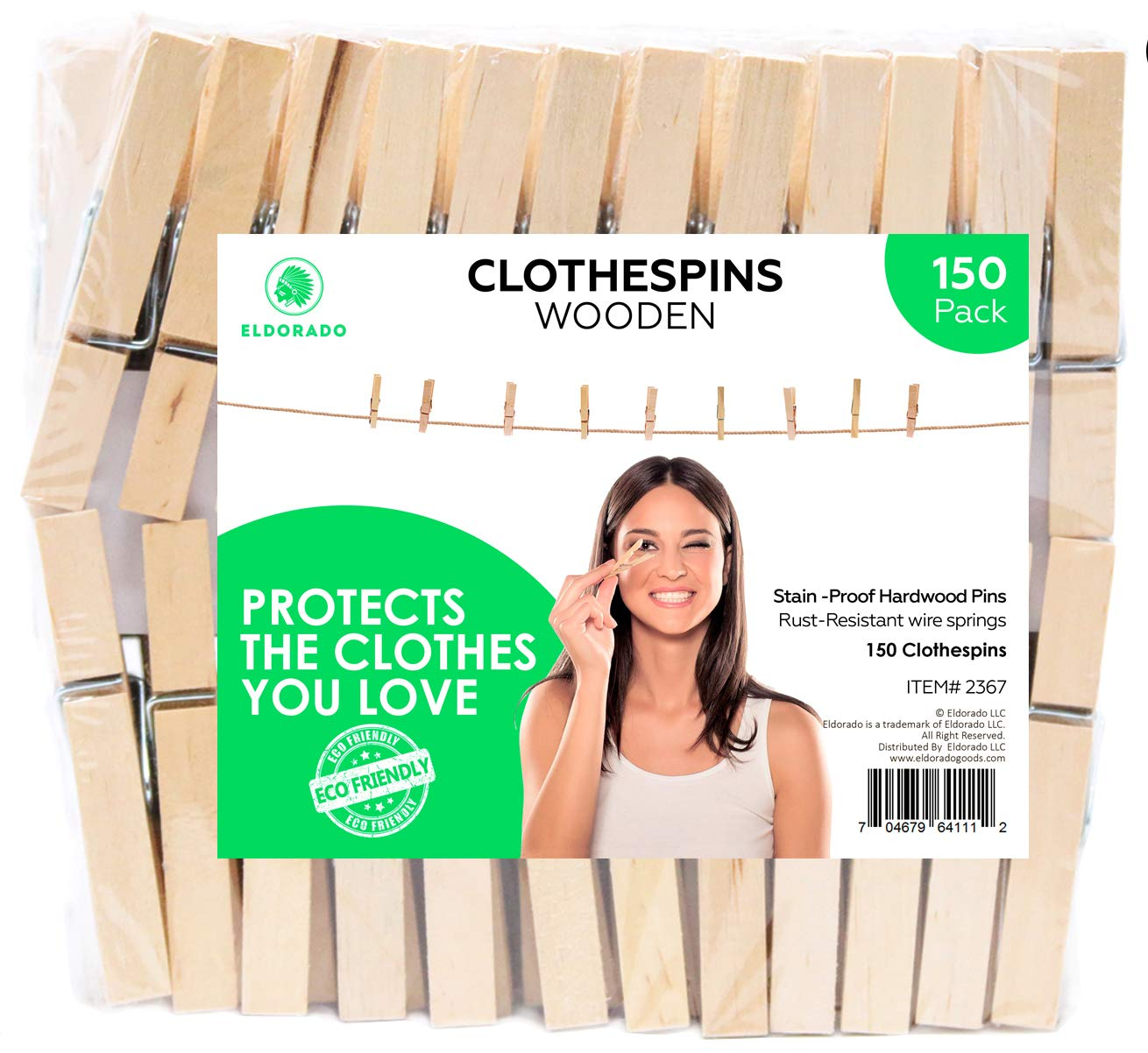 Eldorado Clothespins, Standard Natural Wooden, Stain Proof, 3 inch, 150 Value Pack, for Multipurpose Everyday Laundry, Clothes, Towels, Craft, Photos, Pictures, Decor, Baby Shower, Art Wall
