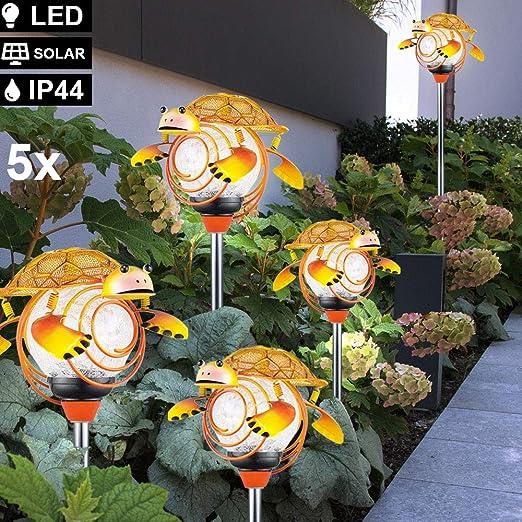 Juego de 5 lámparas solares LED con forma de tortuga, para exteriores, IP44, estaca para jardín: Amazon.es: Iluminación