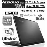 "Flagship Model Lenovo 15.6"" Premium High Performance Laptop, Intel Pentium N3710, 4GB RAM, 1TB HDD. Webcam, Bluetooth, SuperMulti DVD, Windows 10"