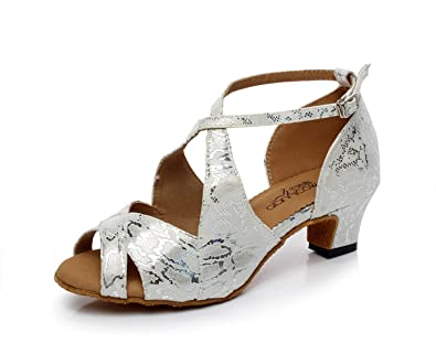 JSHOE Damen Latin Dance Schuhe Salsa/Tango/Tee/Samba/Modern/Jazz Schuhe Sandalen High HeelsGrey-heeled5cm-UK2.5...