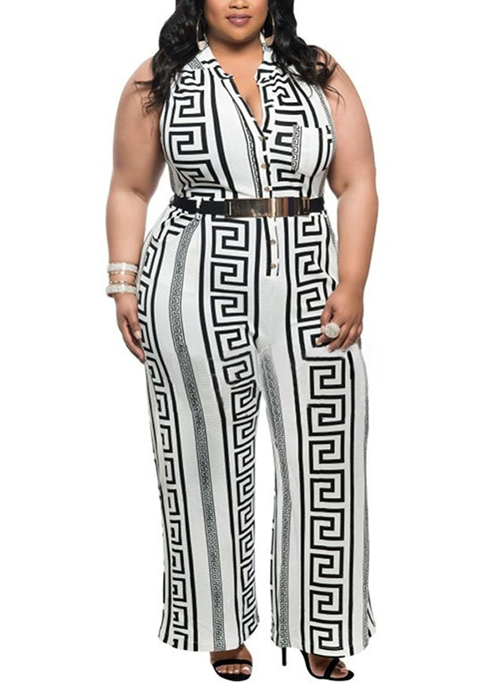 ZOE GARDEN Sexy Plus Size White Print Gold Belted Jumpsuit by