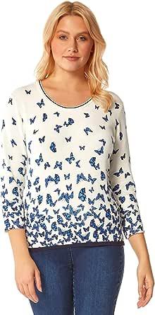 Roman Originals Jersey de mujer con estampado de mariposas, elástico para uso diario, casual, ligero, redondo, cuello redondo, manga 3/4, lana impresa, suéter de lana
