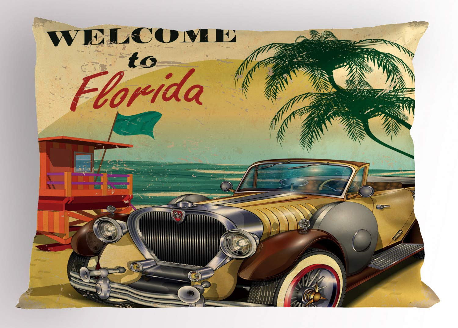Multicolor 30 X 20 Inches Decorative Standard Queen Size Printed Pillowcase Ambesonne Florida Pillow Sham Old Beach Picture with Vintage American Car a Visit to Touristic Coastal State