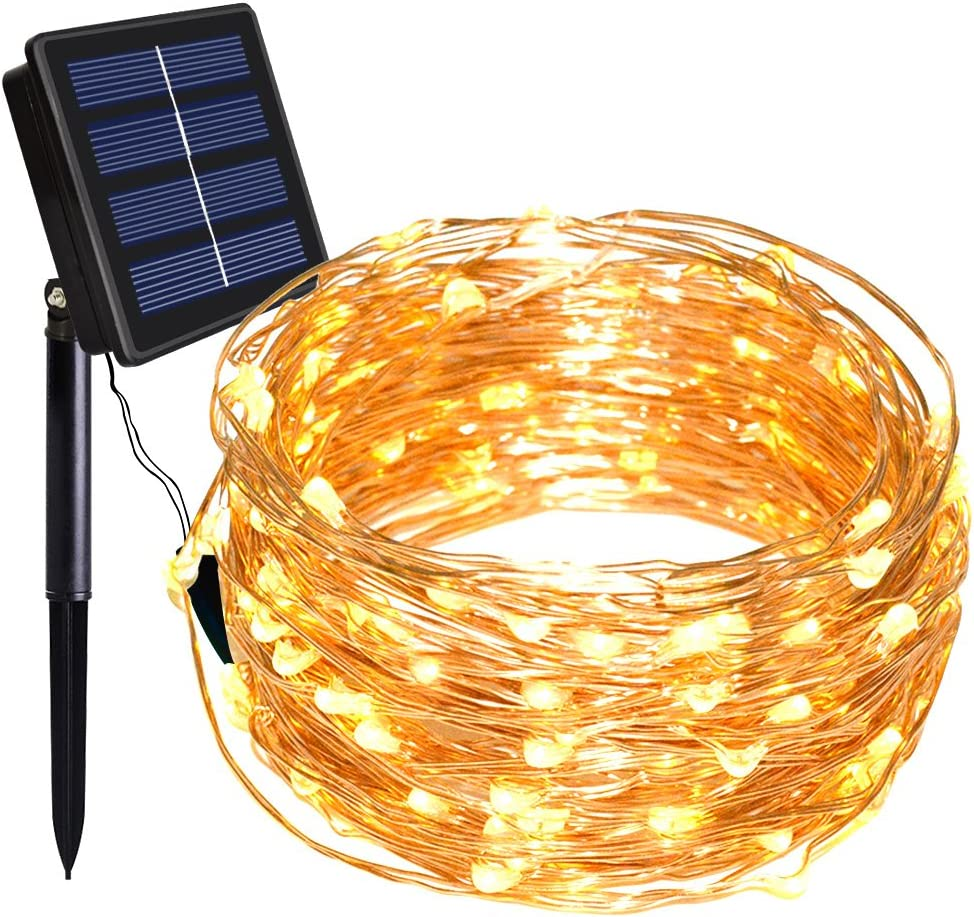 Dolucky Solar String Lights, 55FT 150LED Solar Fairy Lights, 8 Modes Waterproof Copper Wire Solar Christmas Lights for Party Home Garden Decor (Warm White)