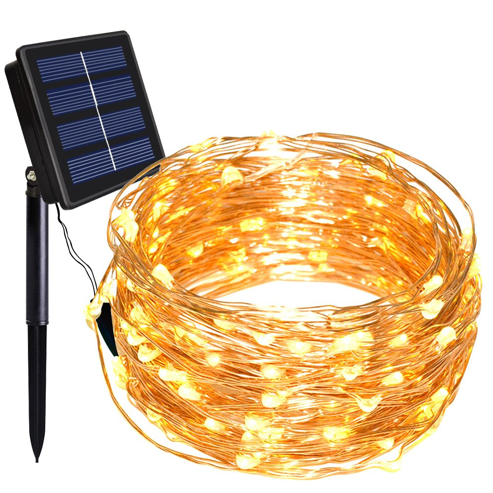 Solar String Lights, Dolucky 150 LED 8 Modes Solar Powered Copper Wire Fairy Lights Outdoor Waterproof (Warm White)