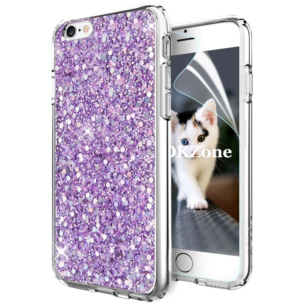 Coque iPhone 6S, Coque iPhone 6 [avec Film de Protection écran HD], OKZone Mince Étui en silicone souple Paillette Strass Brillante Bling Bling Glitter de Luxe, Flexible Plein-Corps TPU Résistant à la Goutte Bumper Housse Etui de Protection [Ultra Fin] [An