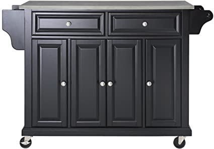Delicieux Crosley Furniture Rolling Kitchen Island With Stainless Steel Top   Black