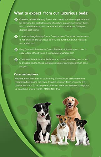 Green Breathe Eco Odor Free Dog Bed Luxury Memory Foam with Natures Activated Charcoal Odor Remover Miracle Dog Bed Water and Chew Resistant