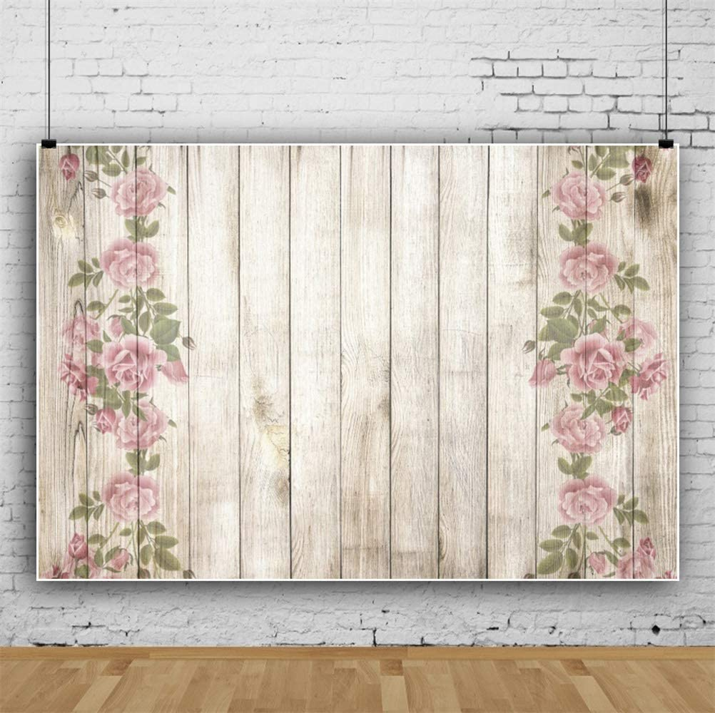 GoEoo Beautiful Flowers Painting On Wood Plank Backdrops 10x7ft Vinyl Photography Background Plain Vertical Striped Wooden Board Backdrop Children Adults Artistic Portraits Pets Product Photo